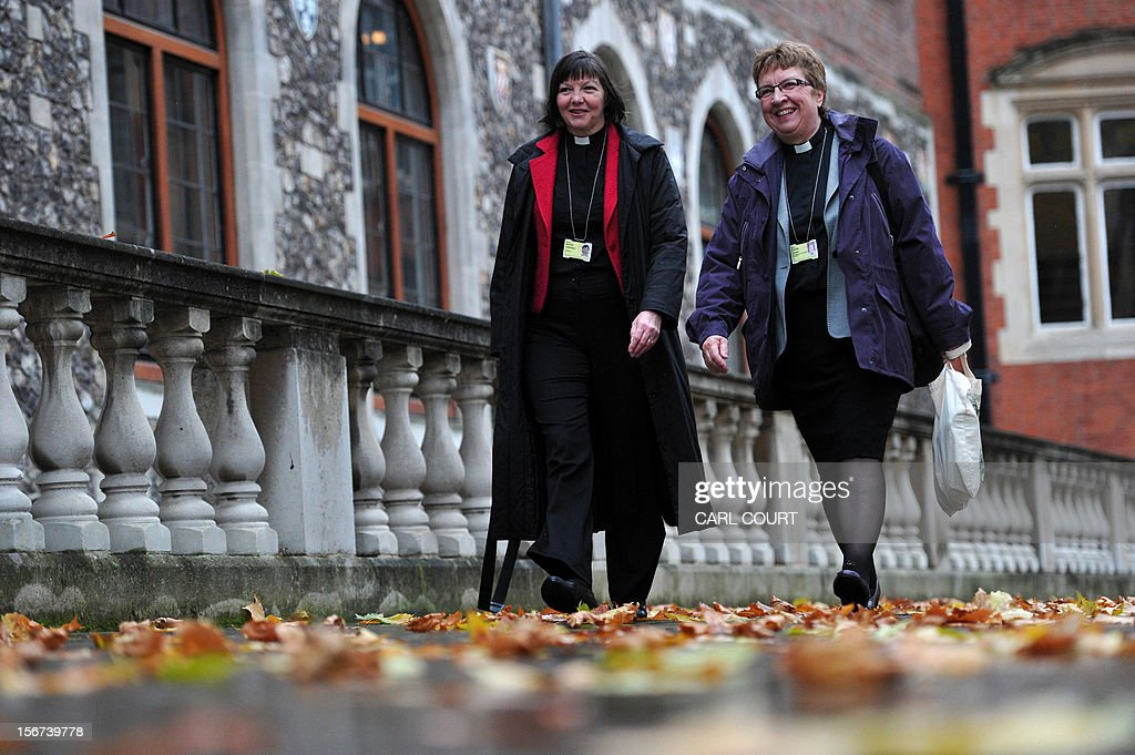 Female members of the clergy arrive at the venue of the three-day Church of England General Synod in central London on November 20, 2012, during which there will be a vote on whether to allow women to become bishops. The 470-member General Synod will vote on November 20 on the issue of women bishops which has split traditionalists and liberals, two decades after England's established state Church backed the introduction of women priests.