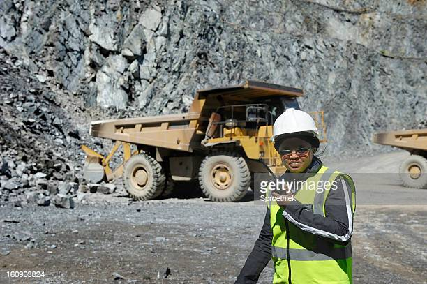 Female mine official supervises work