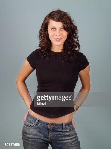 Female model with plain black shirt