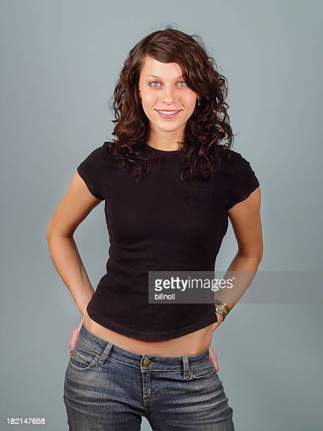 Female model with plain black shirt