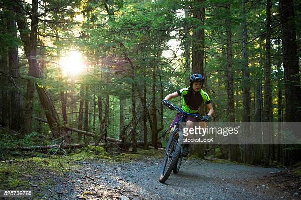 Female mountain biker
