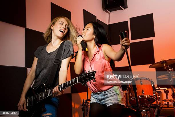 Female music band performing