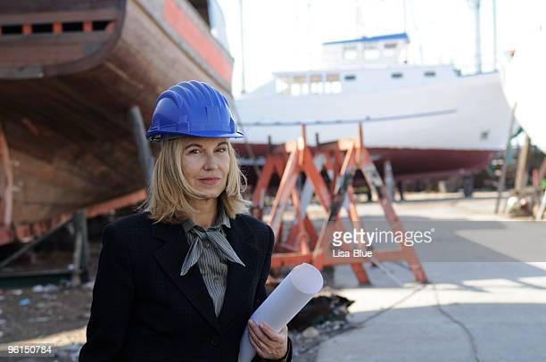 Female naval engineer with a new project
