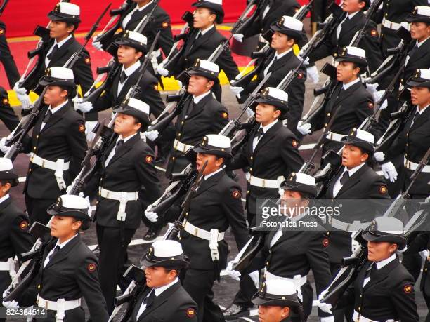 Female navy cadets marching on Military parade commemorating 196th anniversary of Peruvian independence