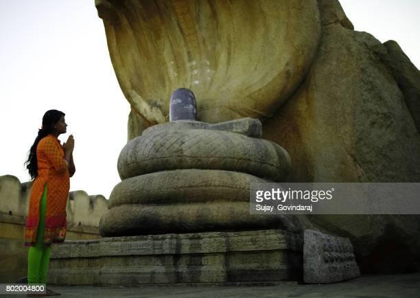 Female Offering Salutation to the Hindu Serpent God