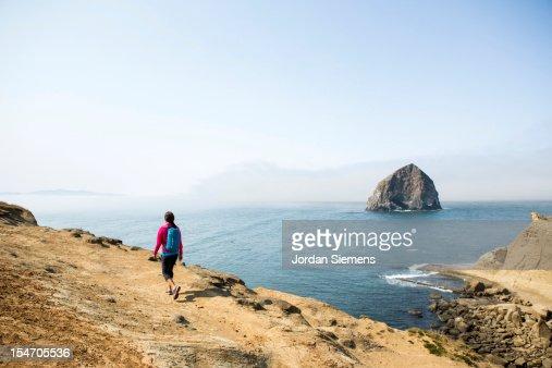 A female on a hike. : Stock Photo