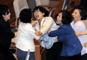 A female opposition legislator screams after being dragged away by ruling party lawmakers during a scuffle in parliament in Seoul on July 22 2009...