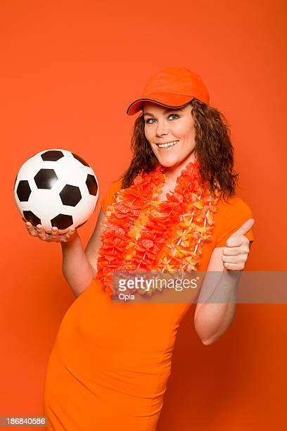 Female orange soccer fan