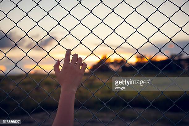Female overlooking beautiful sunset through fence
