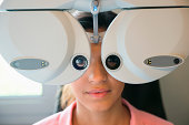 Female patient having eye examination