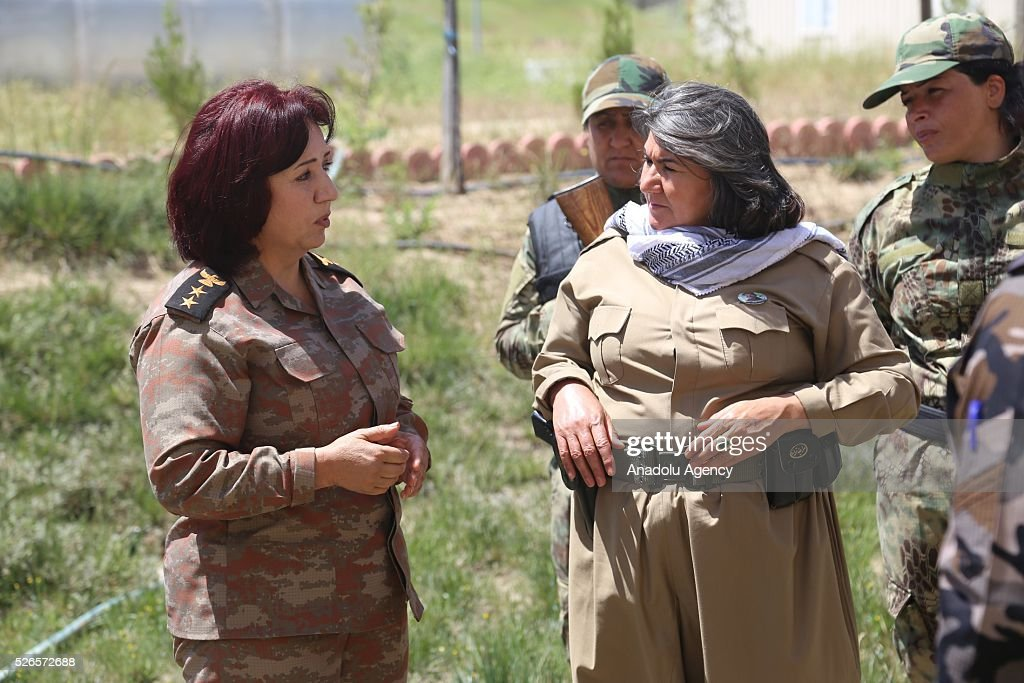 Female Peshmerga Battalion Commander, Colonel Nahida Ahmad Rashid (L) makes a statement to the media as Peshmerga forces launch an operation to liberate Turkmen village, Bashir in southern Kirkuk, on April 30, 2016 in Sulaymaniyah, Iraq.