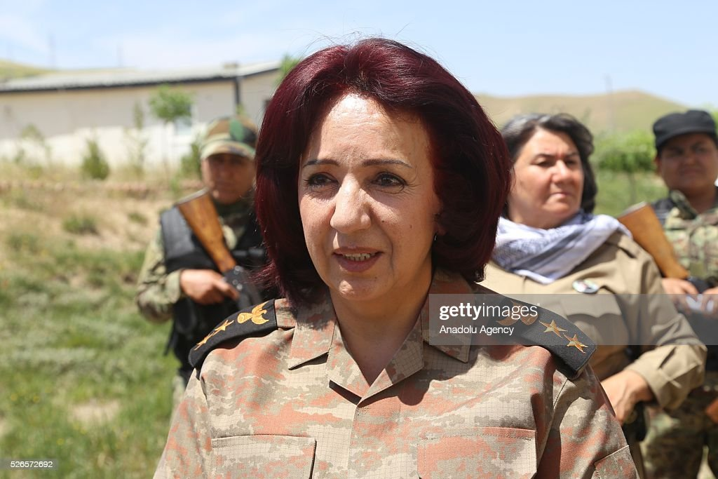 Female Peshmerga Battalion Commander, Colonel Nahida Ahmad Rashid makes a statement to the media as Peshmerga forces launch an operation to liberate Turkmen village, Bashir in southern Kirkuk, on April 30, 2016 in Sulaymaniyah, Iraq.