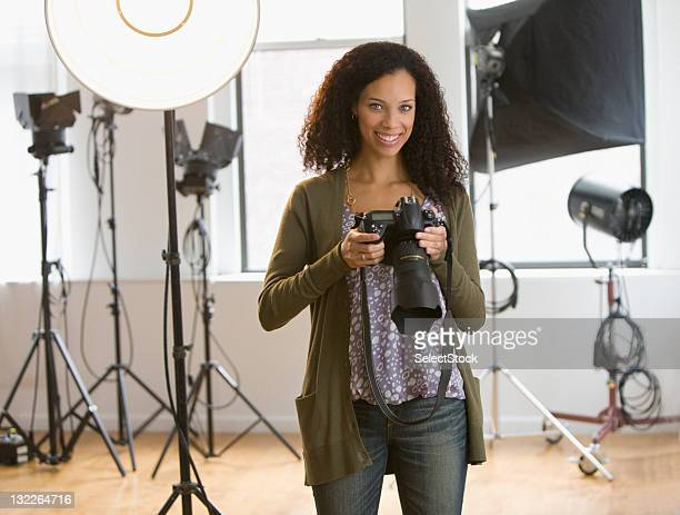 Female photographer in studio