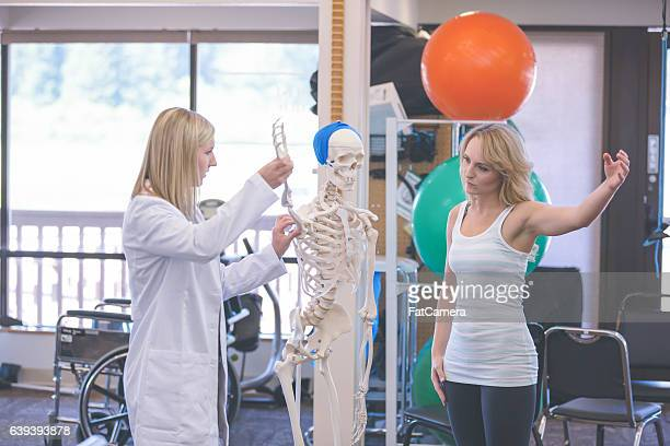 Female physical therapist working with an adult female in the clinic