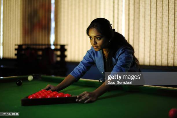 Female Placing the Snooker Balls