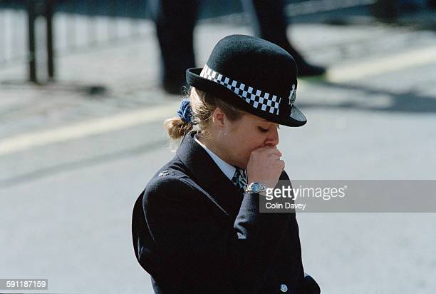 A female police officer during the funeral of Diana Princess of Wales at Westminster Abbey in London 6th September 1997