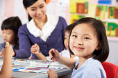 Female Pupil Enjoying Art Class In Chinese School Classroom