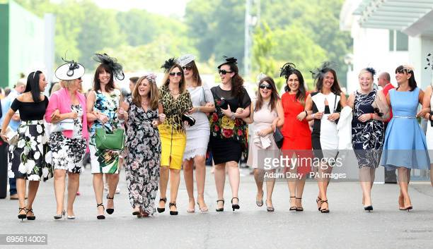 Female racegoers on Ladies Day during the 2017 Investec Epsom Derby Festival at Epsom Racecourse Epsom