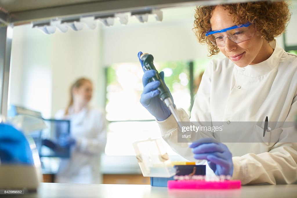 female researcher in genetics lab