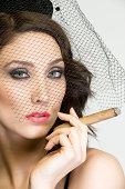Female retro style smoker