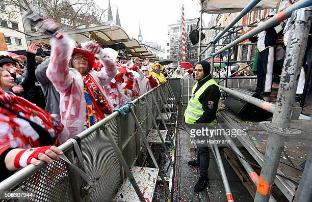 Female revellers party during Weiberfastnacht celebrations as part of the carnival season on February 4 2016 in Cologne Germany Carnival partying and...