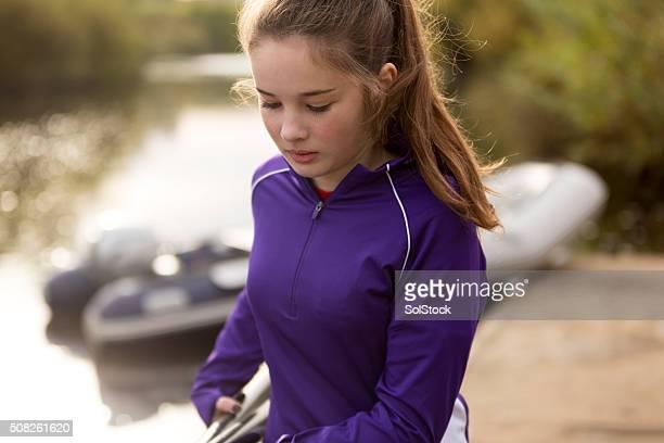 Female rower in preparation