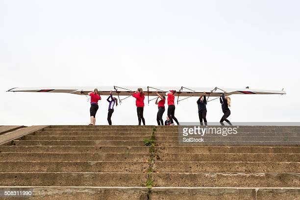 Weibliche Rudern Team