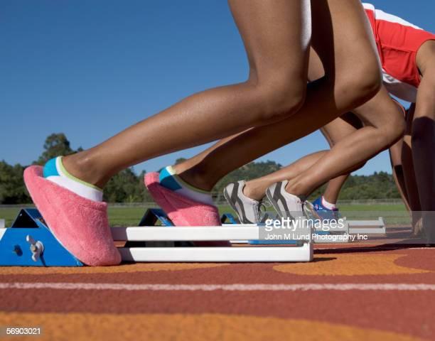 Female runner wearing bedroom slippers