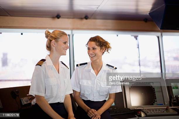 Female salors talking on ship