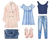 Fashion female clothes collage.Women girl's set of modern wear.Isolated denim apparel.