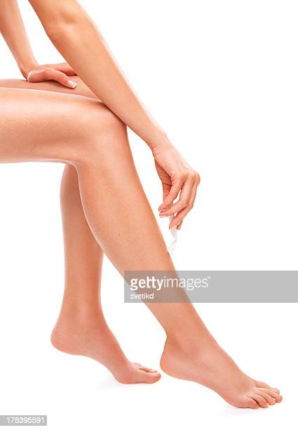 Female shaving legs