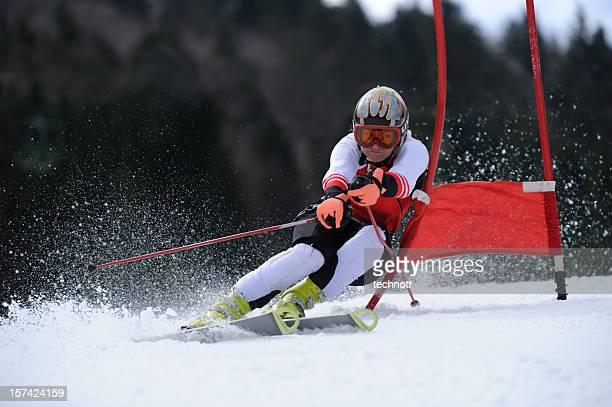 Female skier at giant slalom