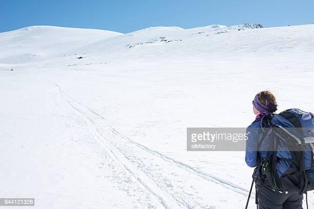 Female skier in Jotunheimen National Park