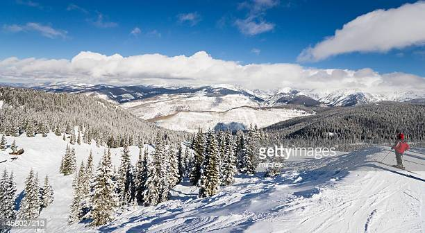 Female Skier Standing with Rocky Mountains Skiing Slopes in Background
