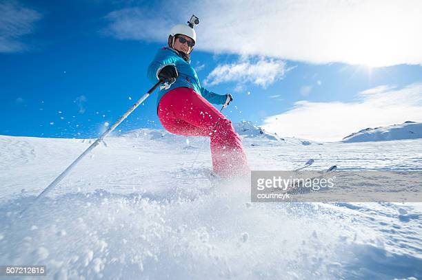 Female Skier turning