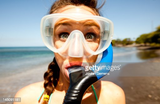 A female snorkling in Hawaii.