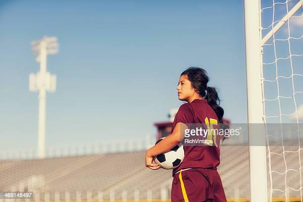 Mujer jugador de fútbol