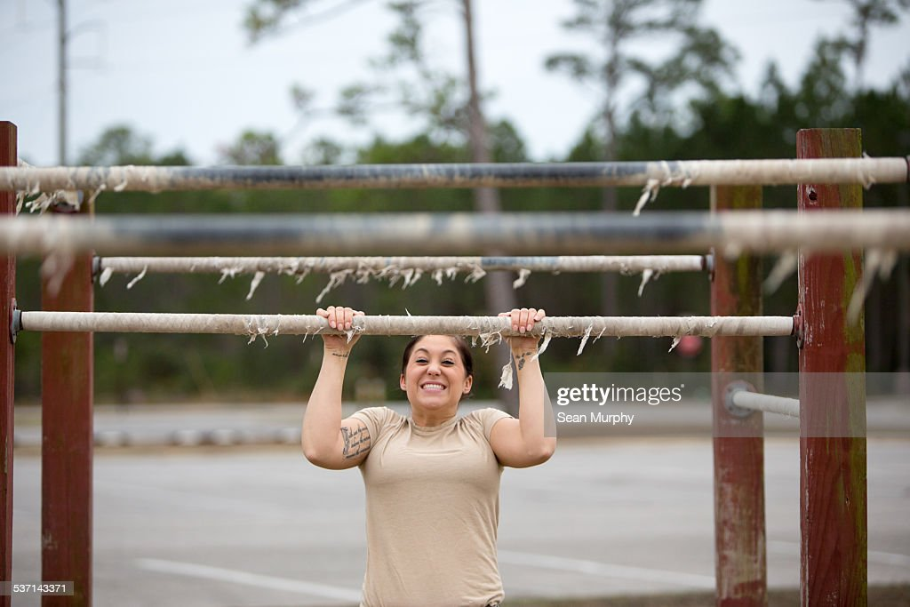 Female Soldier on Obstacle Course
