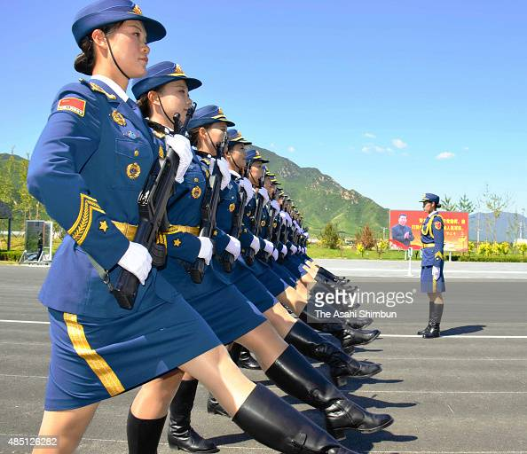 Female soldiers of Chinese People's Liberation Army attend a training session for the September 3 military parade to mark the 70th anniversary of the...