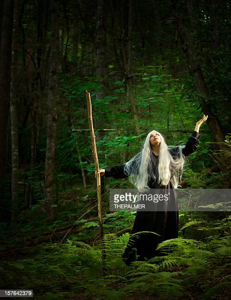 female sorcerer in the woods