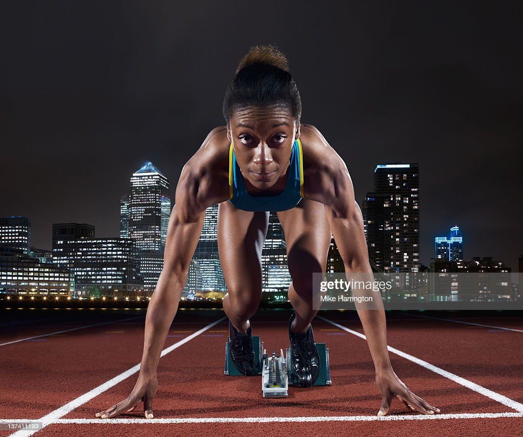 Female Sprinter On Track In London : Stock Photo