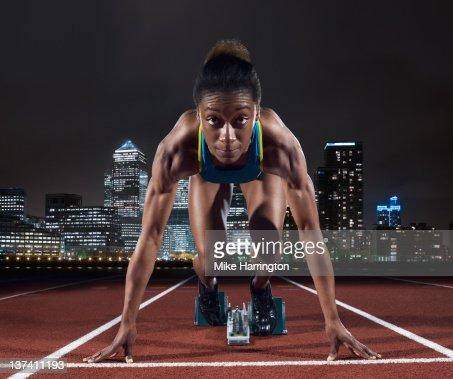 Female Sprinter On Track In London