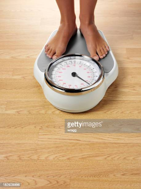 Female Standing on Bathroom Scales