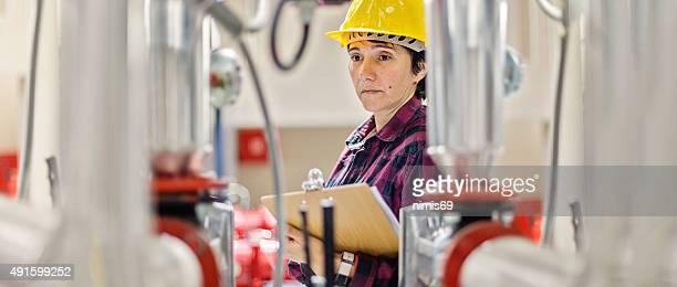 Female stationary engeneer at work
