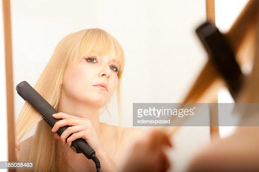Female Straightening Hair
