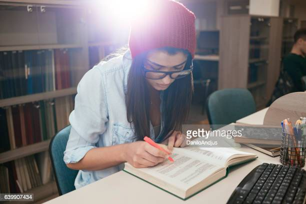 female student getting ready for exams
