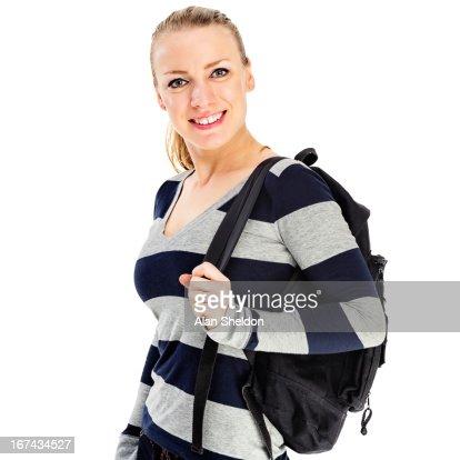 Estudiante mujer con bolsa de libro : Foto de stock