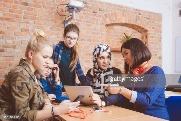 Female students during break in classroom