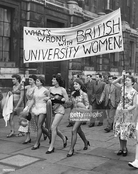 Female students from Reading University on their way to Downing Street to protest against the male students' invitation to Parisian girls to lead the...