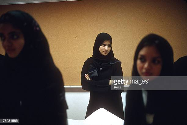 Female students participate in a Graphic Design class at the Dar AlHekma College for Women where three majors Business Information Systems Special...